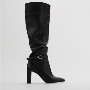 🔥MOVING SALE🔥NEW ZARA BLACK LEATHER Boots TALL